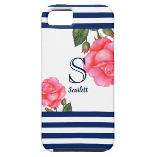 Shabby Chic Pink Roses Navy Blue White Nautical Tough iPhone 5 Case