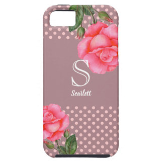 Shabby Chic Pink Roses Polka Dots Case For The iPhone 5