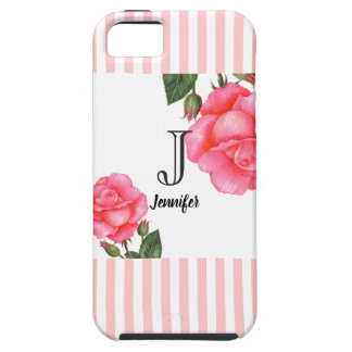Shabby Chic Pink Roses Stripes Pattern iPhone 5 Covers