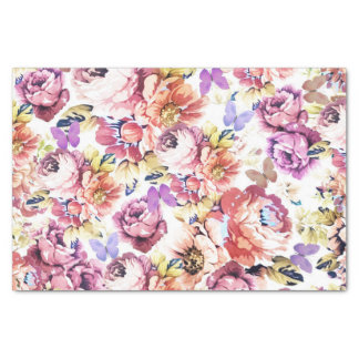 Shabby chic pink roses vintage butterfly floral tissue paper