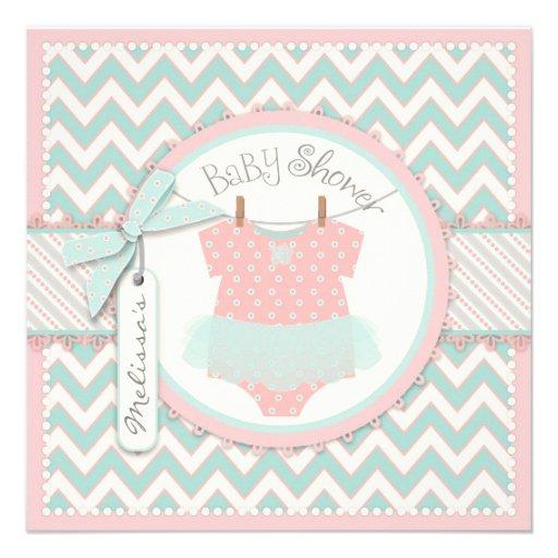 Shabby Chic Pink Tutu & Chevron Print Baby Shower Invites