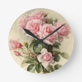 Shabby Chic Pink Victorian Roses Round Wallclocks