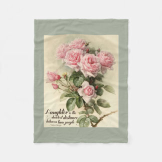 Shabby Chic Pink Victorian Roses Fleece Blanket