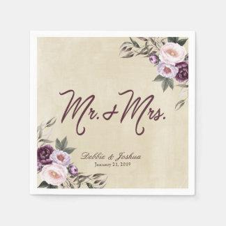 Shabby Chic Purple Floral Lace Wedding Disposable Serviettes