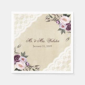 Shabby Chic Purple Floral Lace Wedding Paper Serviettes