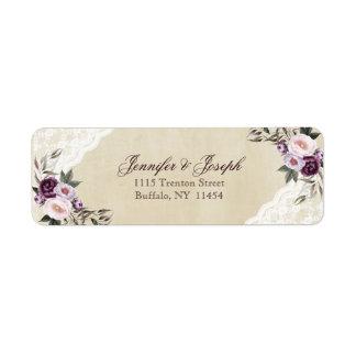 Shabby Chic Purple Floral Lace Wedding Return Address Label