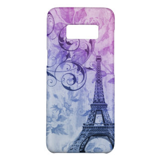 shabby chic purple floral swirls eiffel tower Case-Mate samsung galaxy s8 case