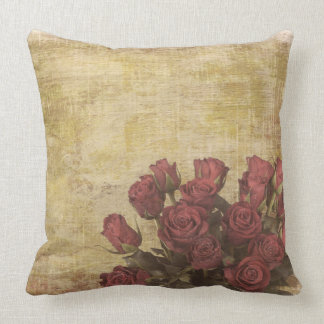 Shabby Chic Red Rose Pillow