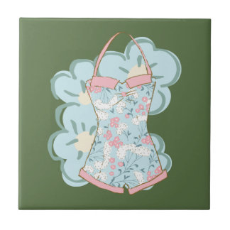 Shabby Chic Retro Floral Swimsuit on Kale Ceramic Tile