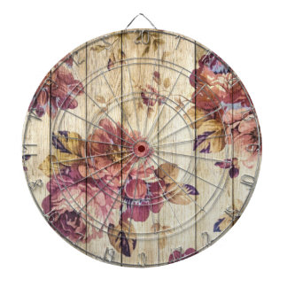 Shabby Chic Romantic Roses on Wooden Wall Dart Boards