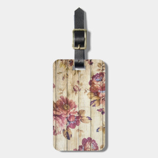 Shabby Chic Romantic Roses on Wooden Wall Luggage Tag