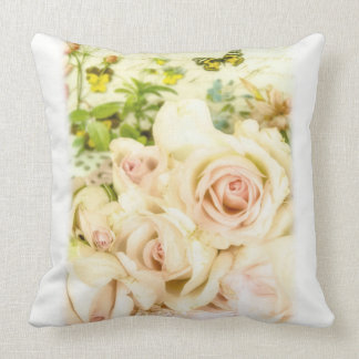Shabby Chic Rose and Butterfly Pillow