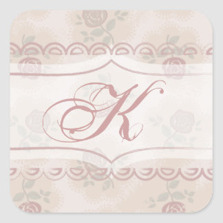Shabby Chic Rose Faded Pink Monogram Square Sticker