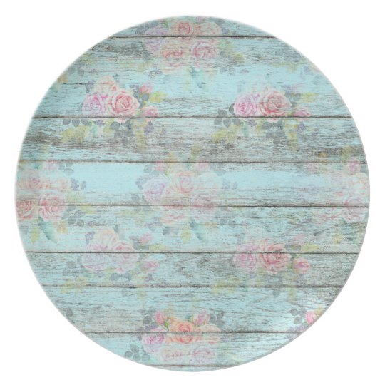 Shabby Chic Rose Flower Wood Blue Vintage Melamine Plate