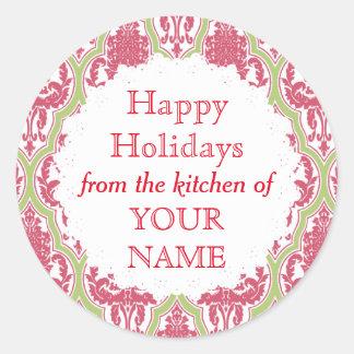 Shabby Chic RoseGreen Damask Holiday Canning Label Round Sticker