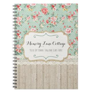 Shabby Chic Roses, Lace & Burlap Vintage Boutique Notebook