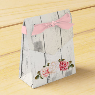 Shabby Chic Roses & Rustic Cottage Barn Wood Favour Box