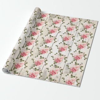 Shabby Chic Roses & Rustic Cottage Barn Wood Wrapping Paper
