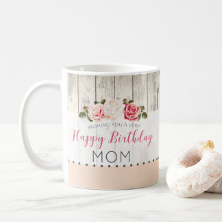 Shabby Chic Roses Rustic Wood Custom Birthday Coffee Mug