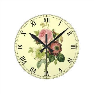 Shabby Chic Roses Wall Clock