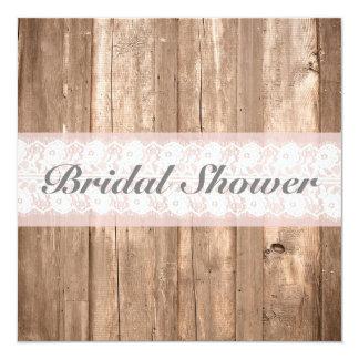 Shabby Chic Rustic Bridal Shower Customisable 13 Cm X 13 Cm Square Invitation Card