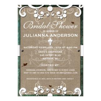 Shabby Chic Rustic Burlap Bridal Shower Invite