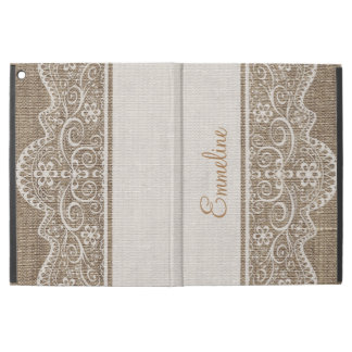 "Shabby Chic Rustic Burlap Floral Lace Monogram iPad Pro 12.9"" Case"