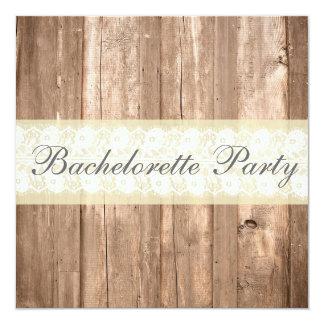 Shabby Chic Rustic Cream Bachelorette Party 13 Cm X 13 Cm Square Invitation Card