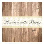 Shabby Chic Rustic Cream Bachelorette Party Custom Invite