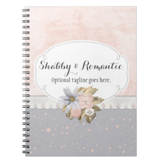 Shabby Chic Rustic Floral Sewing Buttons Boutique Notebook