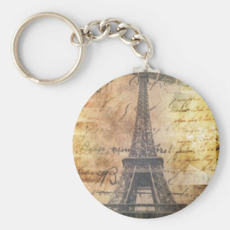 shabby Chic Scripts Vintage Paris Eiffel Tower Basic Round Button Key Ring