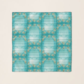 Shabby Chic Spring Flowers On Turquoise Wood Scarf