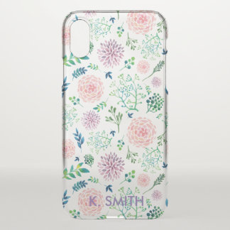 Shabby Chic Spring Watercolor Flowers. iPhone X Case