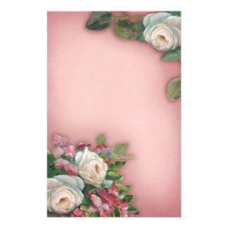 Shabby Chic Style Roses Custom Stationery