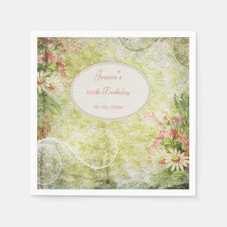 Shabby Chic Sweet 100th Birthday & Wildflowers Disposable Napkin