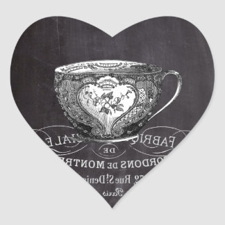 shabby chic tea cup vintage french Chalkboard Heart Sticker