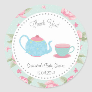 Shabby Chic Tea Party Baby Shower Sticker
