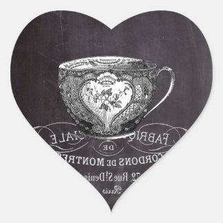 shabby chic teacup vintage Chalkboard  tea party Heart Sticker