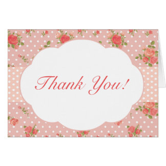 Shabby Chic Thank You Note Card, Pink Card