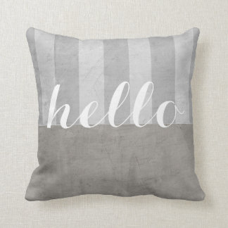 shabby chic throw pillow grey and white with hello