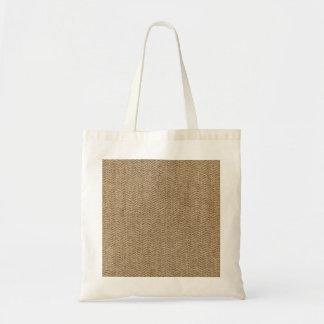 Shabby Chic Tweed Rustic Burlap Fabric Texture Budget Tote Bag