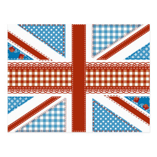 shabby chic, uk flag,patchwork,country,blue,red, postcard