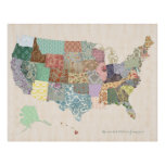 Shabby Chic United States Map - Nursery Art Poster
