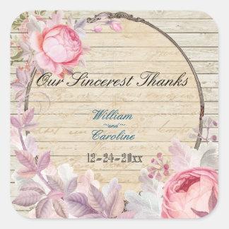 Shabby Chic Victorian Flower Thank You Sticker