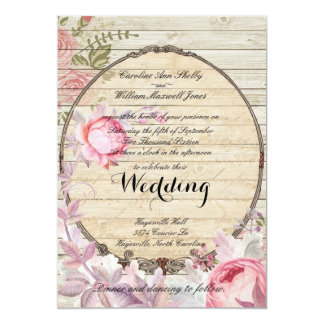 Shabby Chic Victorian Flower Wedding Invitation