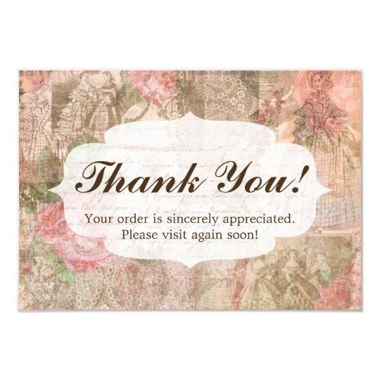 Shabby Chic Victorian Ladies Fashion Thank You Card