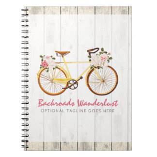 Shabby Chic Vintage Bicycle on Rustic Wood Custom Notebooks