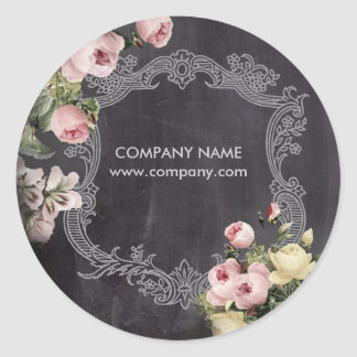 Shabby Chic vintage botanical floral chalkboard Classic Round Sticker