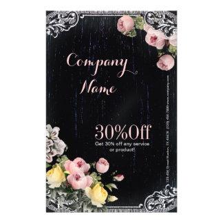 Shabby Chic vintage botanical floral chalkboard Flyer