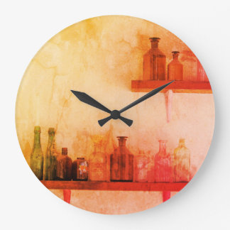 Shabby Chic Vintage Bottle WALL CLOCK